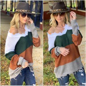 Colorblock distressed sweater